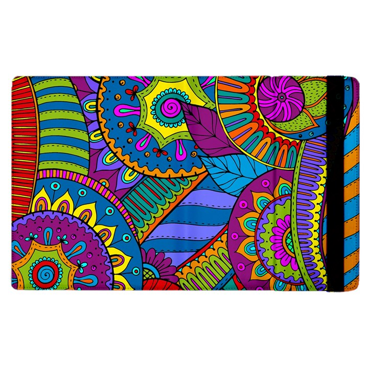 Pop Art Paisley Flowers Ornaments Multicolored Apple iPad 3/4 Flip Case