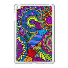 Pop Art Paisley Flowers Ornaments Multicolored Apple iPad Mini Case (White)