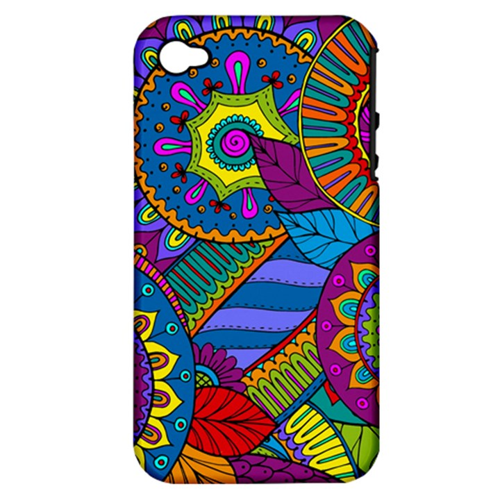Pop Art Paisley Flowers Ornaments Multicolored Apple iPhone 4/4S Hardshell Case (PC+Silicone)