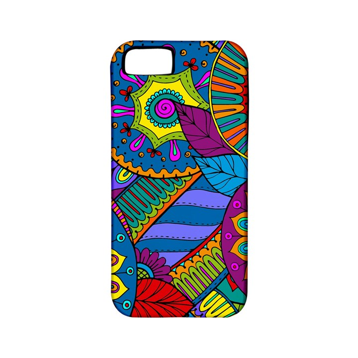 Pop Art Paisley Flowers Ornaments Multicolored Apple iPhone 5 Classic Hardshell Case (PC+Silicone)