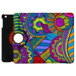 Pop Art Paisley Flowers Ornaments Multicolored Apple iPad Mini Flip 360 Case Front