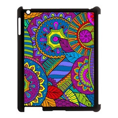 Pop Art Paisley Flowers Ornaments Multicolored Apple iPad 3/4 Case (Black)