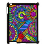 Pop Art Paisley Flowers Ornaments Multicolored Apple iPad 3/4 Case (Black) Front