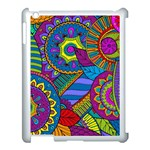 Pop Art Paisley Flowers Ornaments Multicolored Apple iPad 3/4 Case (White) Front
