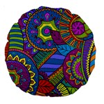 Pop Art Paisley Flowers Ornaments Multicolored Large 18  Premium Round Cushions Front