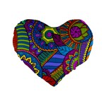 Pop Art Paisley Flowers Ornaments Multicolored Standard 16  Premium Heart Shape Cushions Front