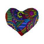 Pop Art Paisley Flowers Ornaments Multicolored Standard 16  Premium Heart Shape Cushions Back