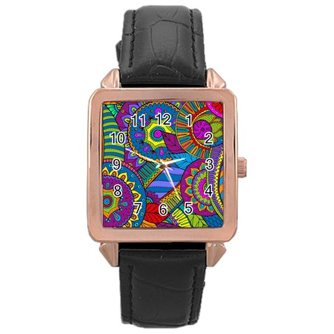 Pop Art Paisley Flowers Ornaments Multicolored Rose Gold Leather Watch