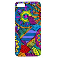 Pop Art Paisley Flowers Ornaments Multicolored Apple iPhone 5 Hardshell Case with Stand