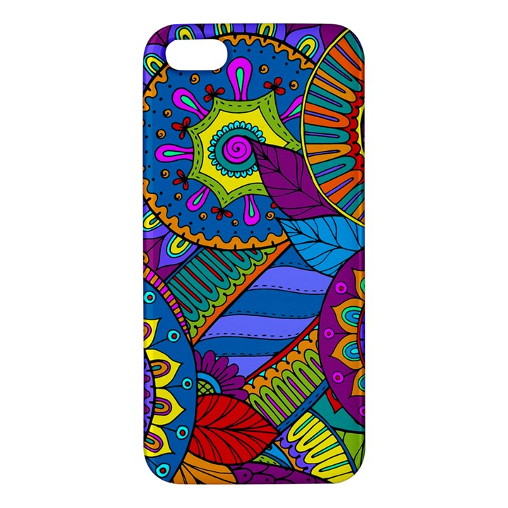 Pop Art Paisley Flowers Ornaments Multicolored Apple iPhone 5 Premium Hardshell Case