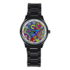 Pop Art Paisley Flowers Ornaments Multicolored Stainless Steel Round Watch