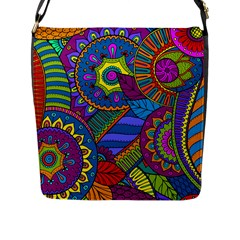Pop Art Paisley Flowers Ornaments Multicolored Flap Messenger Bag (L)