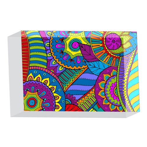 Pop Art Paisley Flowers Ornaments Multicolored 4 x 6  Acrylic Photo Blocks