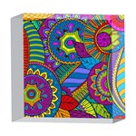 Pop Art Paisley Flowers Ornaments Multicolored 5  x 5  Acrylic Photo Blocks Front