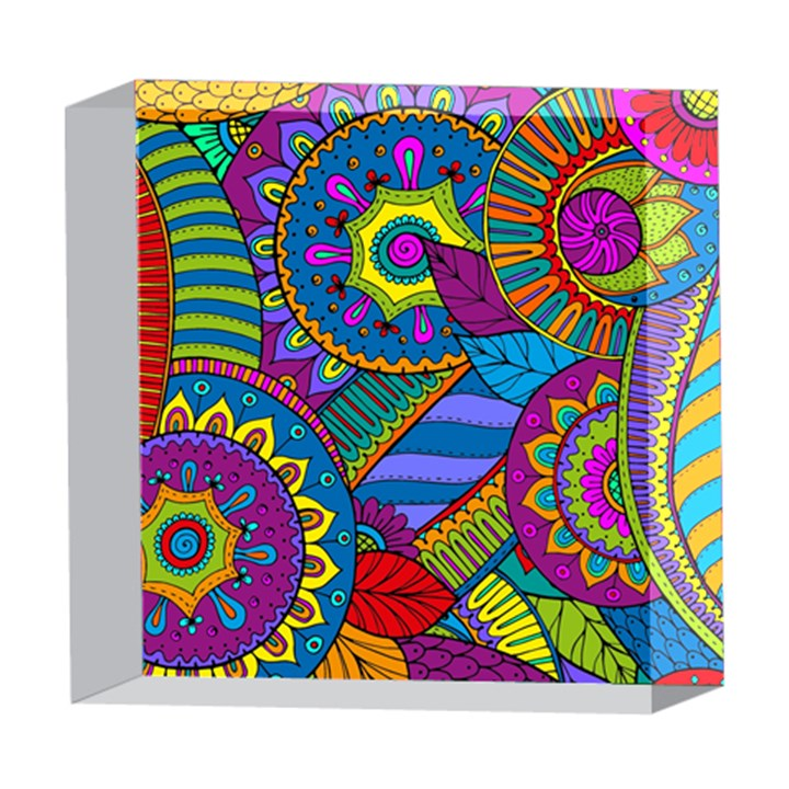 Pop Art Paisley Flowers Ornaments Multicolored 5  x 5  Acrylic Photo Blocks