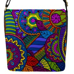 Pop Art Paisley Flowers Ornaments Multicolored Flap Messenger Bag (S)