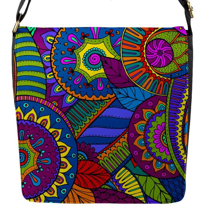 Pop Art Paisley Flowers Ornaments Multicolored Flap Messenger Bag (S)