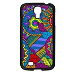 Pop Art Paisley Flowers Ornaments Multicolored Samsung Galaxy S4 I9500/ I9505 Case (Black) Front