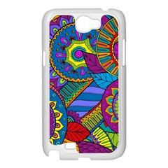 Pop Art Paisley Flowers Ornaments Multicolored Samsung Galaxy Note 2 Case (White)