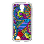 Pop Art Paisley Flowers Ornaments Multicolored Samsung GALAXY S4 I9500/ I9505 Case (White) Front