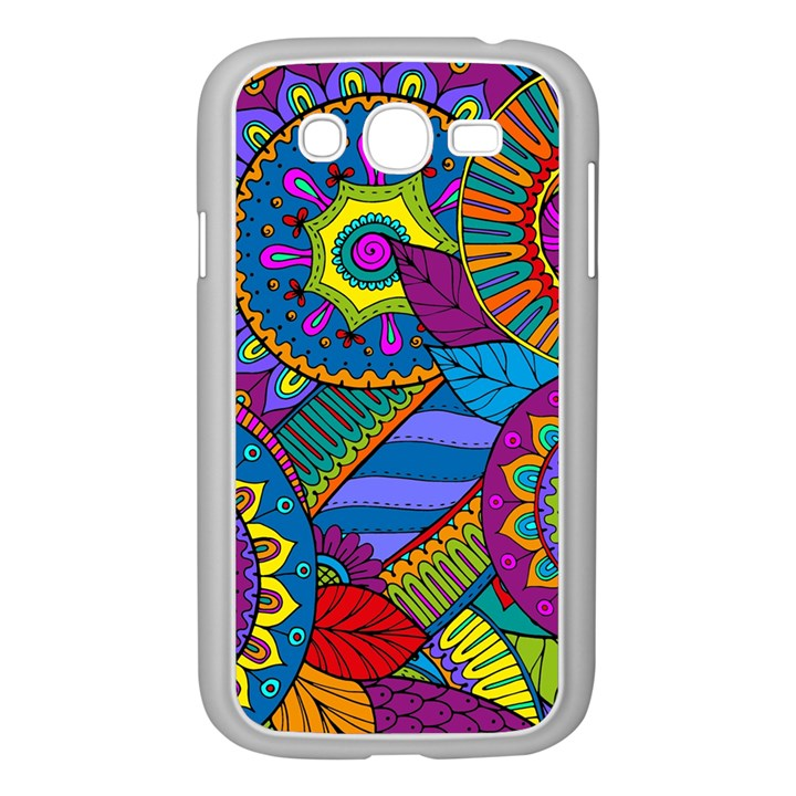 Pop Art Paisley Flowers Ornaments Multicolored Samsung Galaxy Grand DUOS I9082 Case (White)