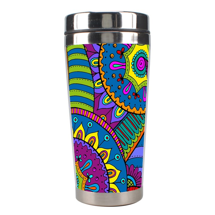 Pop Art Paisley Flowers Ornaments Multicolored Stainless Steel Travel Tumblers