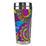 Pop Art Paisley Flowers Ornaments Multicolored Stainless Steel Travel Tumblers Right
