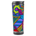 Pop Art Paisley Flowers Ornaments Multicolored Travel Tumbler Center