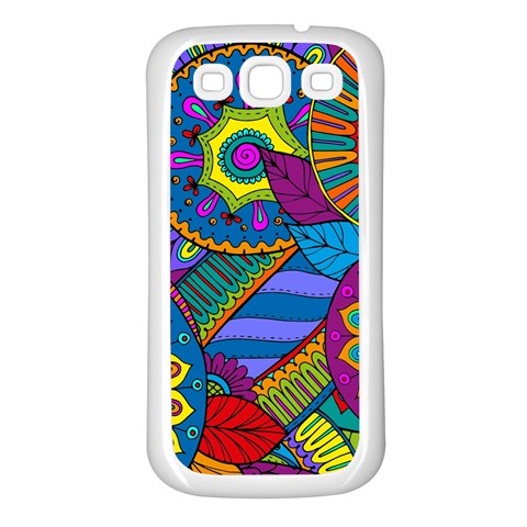 Pop Art Paisley Flowers Ornaments Multicolored Samsung Galaxy S3 Back Case (White)