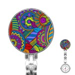 Pop Art Paisley Flowers Ornaments Multicolored Stainless Steel Nurses Watch Front