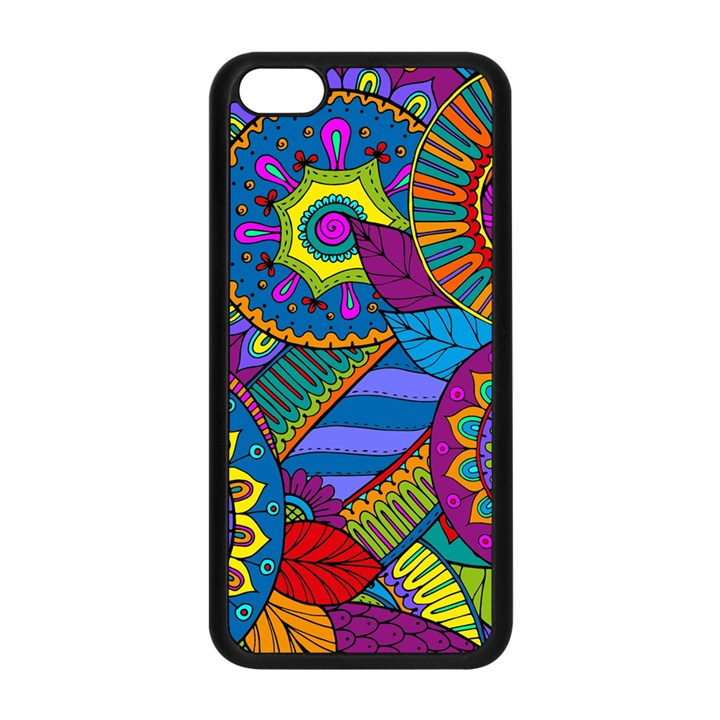 Pop Art Paisley Flowers Ornaments Multicolored Apple iPhone 5C Seamless Case (Black)