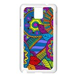 Pop Art Paisley Flowers Ornaments Multicolored Samsung Galaxy Note 3 N9005 Case (White) Front