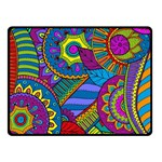 Pop Art Paisley Flowers Ornaments Multicolored Double Sided Fleece Blanket (Small)  50 x40 Blanket Back