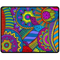 Pop Art Paisley Flowers Ornaments Multicolored Double Sided Fleece Blanket (Medium)