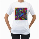 Pop Art Paisley Flowers Ornaments Multicolored Women s T-Shirt (White)  Front