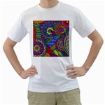 Pop Art Paisley Flowers Ornaments Multicolored Men s T-Shirt (White)  Front
