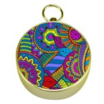 Pop Art Paisley Flowers Ornaments Multicolored Gold Compasses Front