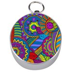 Pop Art Paisley Flowers Ornaments Multicolored Silver Compasses Front