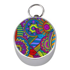 Pop Art Paisley Flowers Ornaments Multicolored Mini Silver Compasses