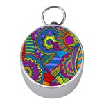 Pop Art Paisley Flowers Ornaments Multicolored Mini Silver Compasses Front