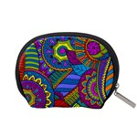 Pop Art Paisley Flowers Ornaments Multicolored Accessory Pouches (Small)  Back