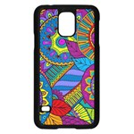 Pop Art Paisley Flowers Ornaments Multicolored Samsung Galaxy S5 Case (Black) Front