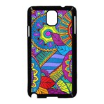 Pop Art Paisley Flowers Ornaments Multicolored Samsung Galaxy Note 3 Neo Hardshell Case (Black) Front