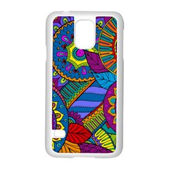 Pop Art Paisley Flowers Ornaments Multicolored Samsung Galaxy S5 Case (white)