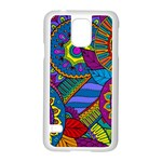 Pop Art Paisley Flowers Ornaments Multicolored Samsung Galaxy S5 Case (White) Front