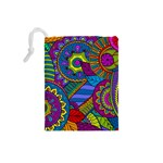 Pop Art Paisley Flowers Ornaments Multicolored Drawstring Pouches (Small)  Back