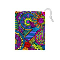 Pop Art Paisley Flowers Ornaments Multicolored Drawstring Pouches (Medium)