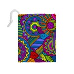 Pop Art Paisley Flowers Ornaments Multicolored Drawstring Pouches (Medium)  Back