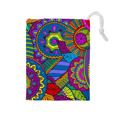 Pop Art Paisley Flowers Ornaments Multicolored Drawstring Pouches (Large)