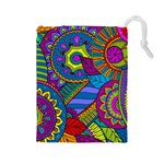 Pop Art Paisley Flowers Ornaments Multicolored Drawstring Pouches (Large)  Front